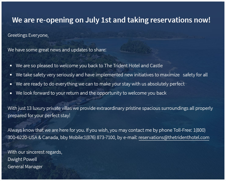 We are re-opening on July 1st and taking reservations now!